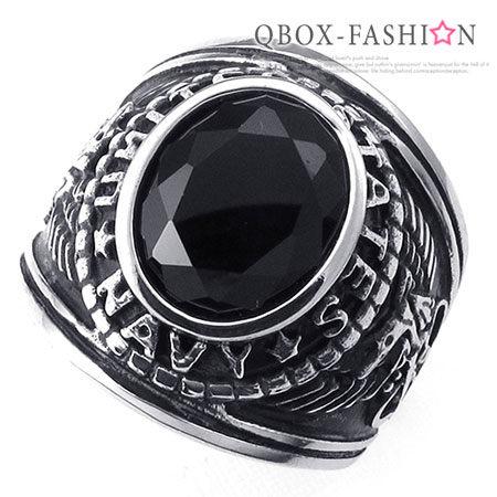 《 QBOX 》FASHION 飾品【W10024225】精緻個性美式老鷹黑鋯石鑄造316L鈦鋼戒指/戒環