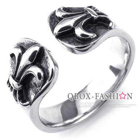 《QBOX 》FASHION 飾品【W10024229】精緻個性克羅心開口鑄造316L鈦鋼戒指/戒環