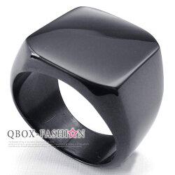 《 QBOX 》FASHION 飾品【W10024339】精緻個性素面寬版316L鈦鋼戒指/戒環(黑)