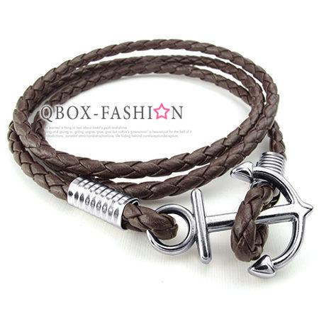 《 QBOX 》FASHION 飾品【W10024347】精緻個性船錨扣飾合金皮革手鍊/手環(咖啡色)