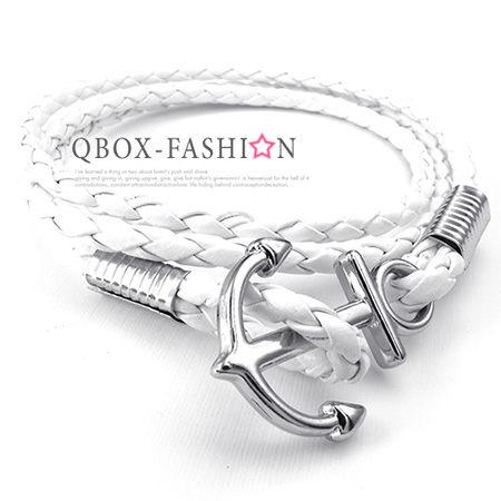 《 QBOX 》FASHION 飾品【W10024348】精緻個性船錨扣飾合金皮革手鍊/手環(白色)