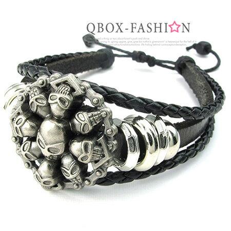 《 QBOX 》FASHION 飾品【W10024419】精緻個性復古圓盾骷顱頭合金皮革手鍊/手環(黑色)