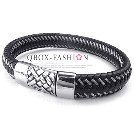 《 QBOX 》FASHION 飾品【W10024536】精緻個性羊頭符號鋼絲編織皮革316L鈦鋼手鍊/手環(推薦)