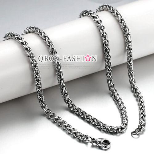 《 QBOX 》FASHION 飾品【W2014N324】精緻個性花蘭繩環扣316L鈦鋼項鍊子/鋼鍊條