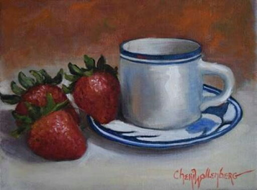 Strawberries and Cup and Saucer Poster Print by Cheri Wollenberg (11 x 14) 2f555886f480899ec3f8ac61292459a8