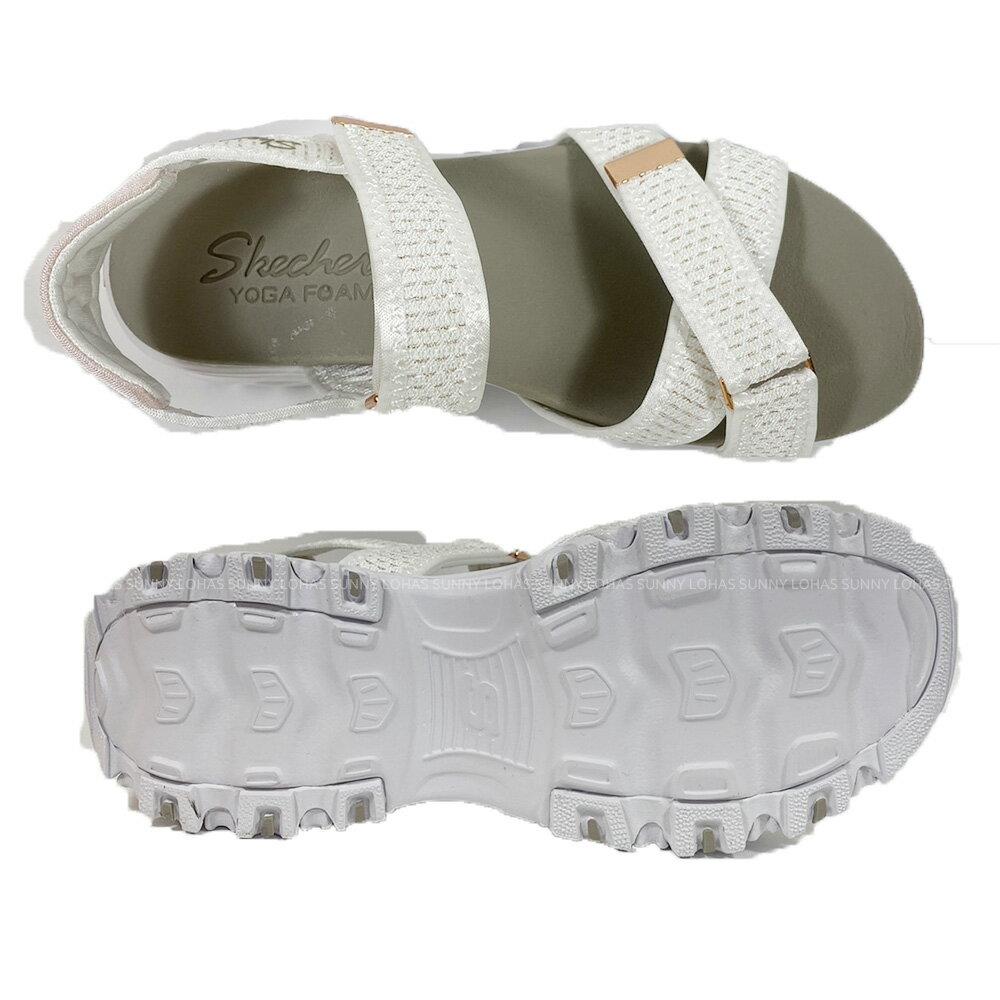 SKECHERS 女鞋 D'LITES 涼拖鞋 厚底涼鞋 輕量避震 119241WTRG白金 [陽光樂活](C5)
