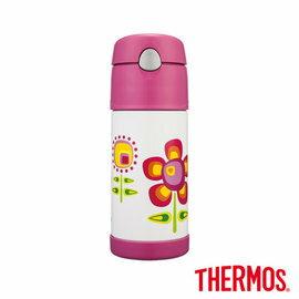 【淘氣寶寶】【THERMOS膳魔師】小花兒篇不鏽鋼真空保冷瓶0.37L(F4001FFP6)【原廠公司貨】