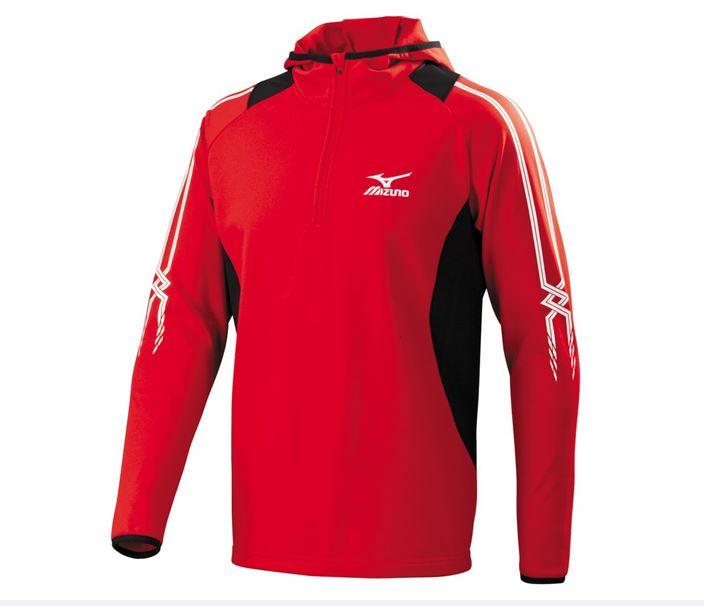 [陽光樂活] MIZUNO 美津濃 長袖連帽 T恤 外套 保暖 32TA553262 紅