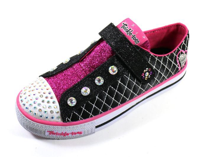 [陽光樂活] SKECHERS (童) 女童系列 燈鞋 TWINKLE TOES Shuffles - 10689LBKHP 黑/粉