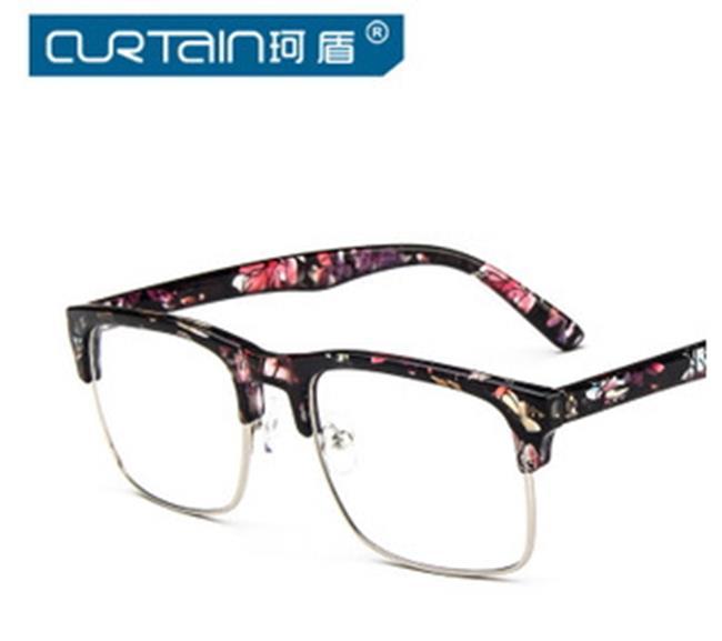 50%OFF【J009782Gls】韓版方形復古眼鏡框明星款金屬半框眼鏡框架潮流百搭 附眼鏡盒 防紫外線 明星款 反光鏡面