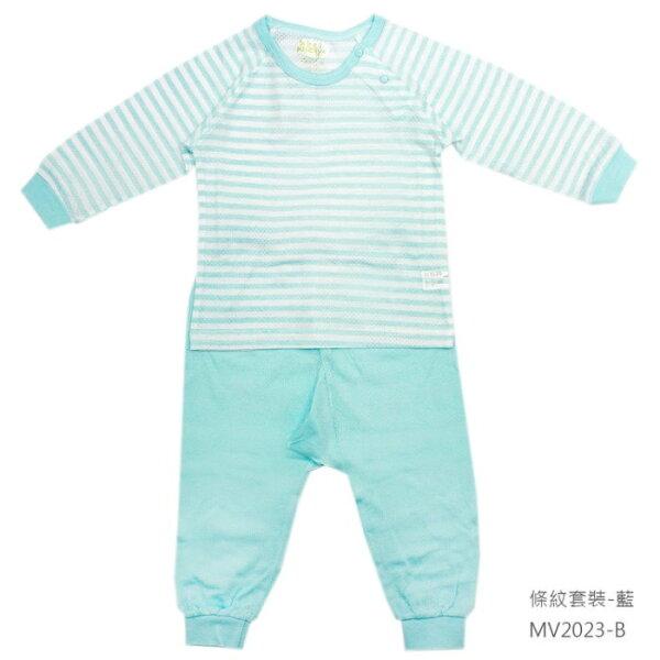 【淘氣寶寶】米諾娃Minerva【春夏款-條紋系列】肩釦套裝(藍)