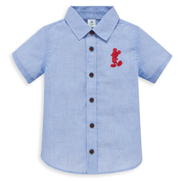 Dinsey米奇系列剪接格紋襯衫-中藍