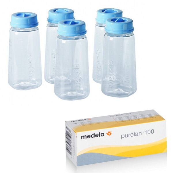*限量特賣* medela美樂 - purelan100純羊脂(羊脂膏) 37g + Spectra貝瑞克 - 奶水儲存瓶5入 超值組