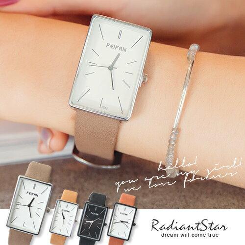 香港FEIFAN天天晴朗好心情長方形文青皮革手錶~WFE62004~璀璨之星~