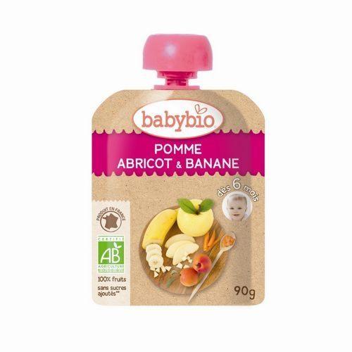 法國倍優Babybio有機香蕉杏桃纖果泥隨行包6m+