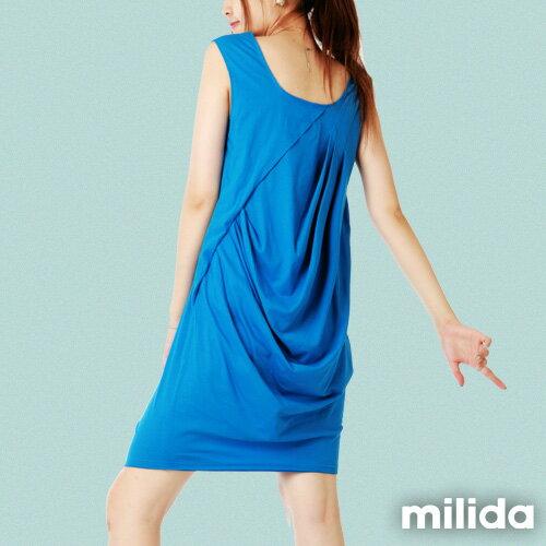 【Milida,全店七折免運】前後U領-立體抓皺剪裁洋裝 6