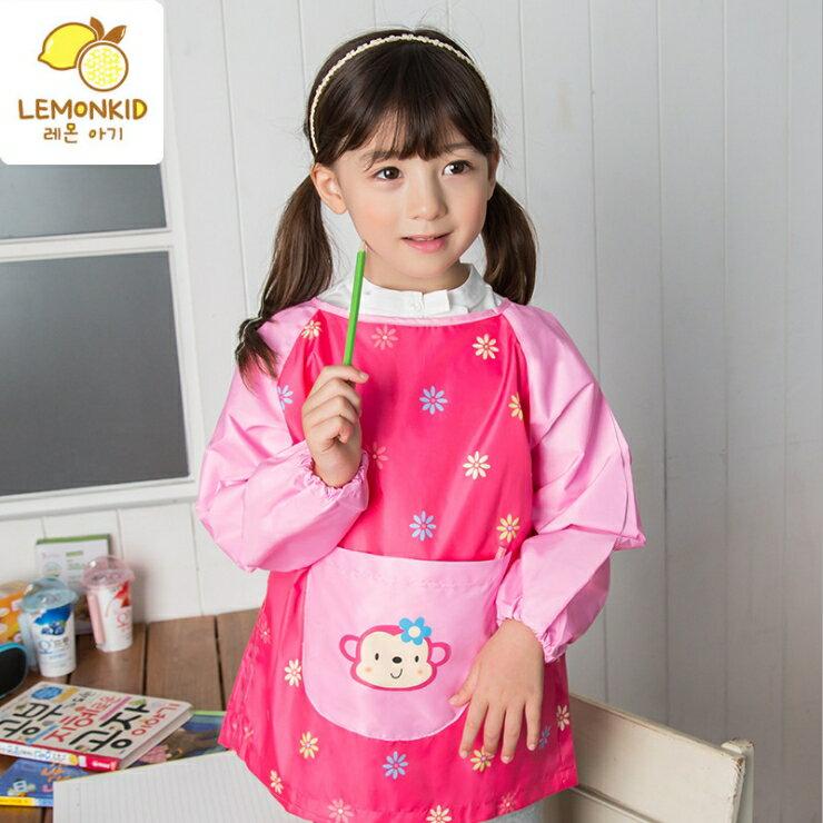 Lemonkid◆可愛小花猴子點點前大口袋防水防髒環保罩衣畫畫衣 - 粉色