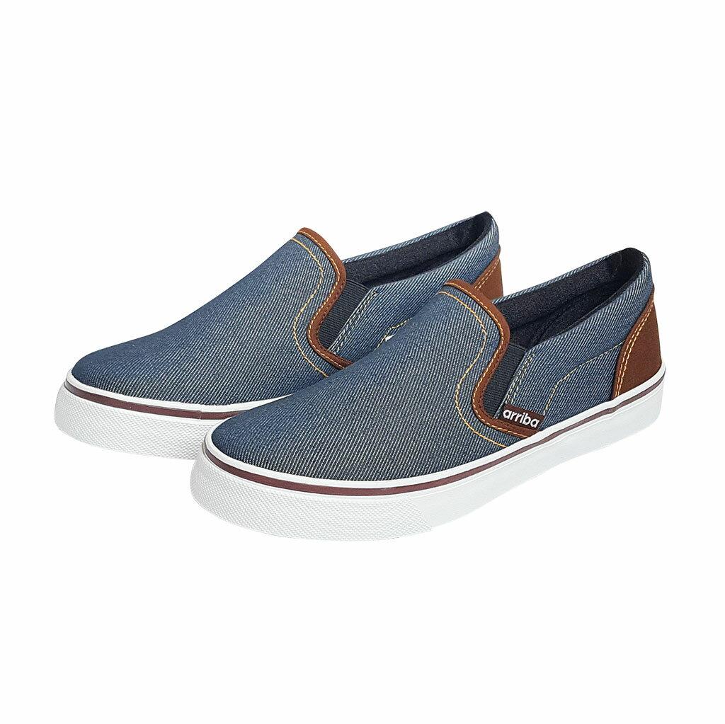 Arriba AB-7033 經典 牛仔風 休閒鞋 懶人鞋 便鞋 帆布鞋 情侶鞋 男鞋