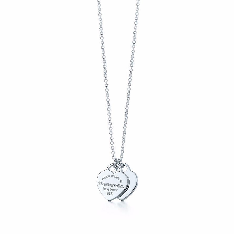 美國百分百【全新真品】Tiffany & Co. 項鍊 迷你 雙心形 鍊墜 純銀 墜飾 吊飾 銀飾 禮物 精品 C666