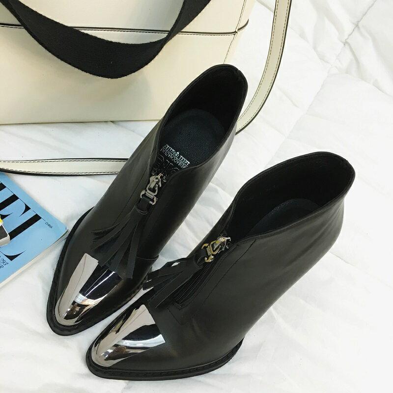 2016秋冬拉鍊細跟高跟鞋流蘇短靴裸靴女鞋金屬銀頭尖頭歐美