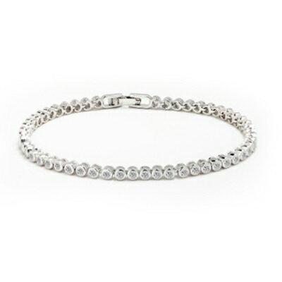 純銀手鍊 鍍白金鑲鑽手環 ~ 特別 天之眼生日情人節 女飾品73cv42~ ~~米蘭 ~