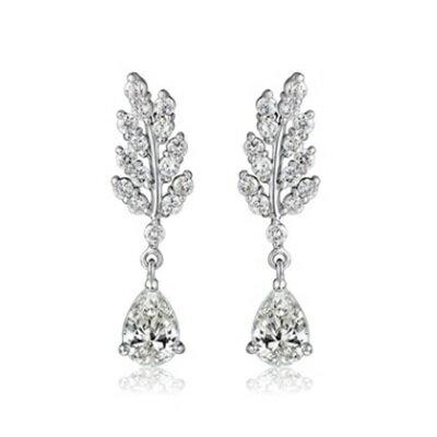 ~純銀耳環鍍白金鑲鑽耳飾~高貴耀眼特別樹葉生日情人節 女飾品73cr32~ ~~米蘭 ~