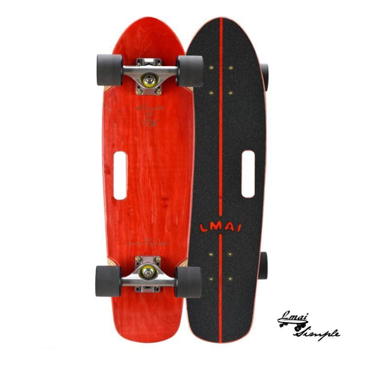 樂邁LMAI竹木滑板大魚板舞板男女生刷街代步小魚板成人四輪滑板車NMS