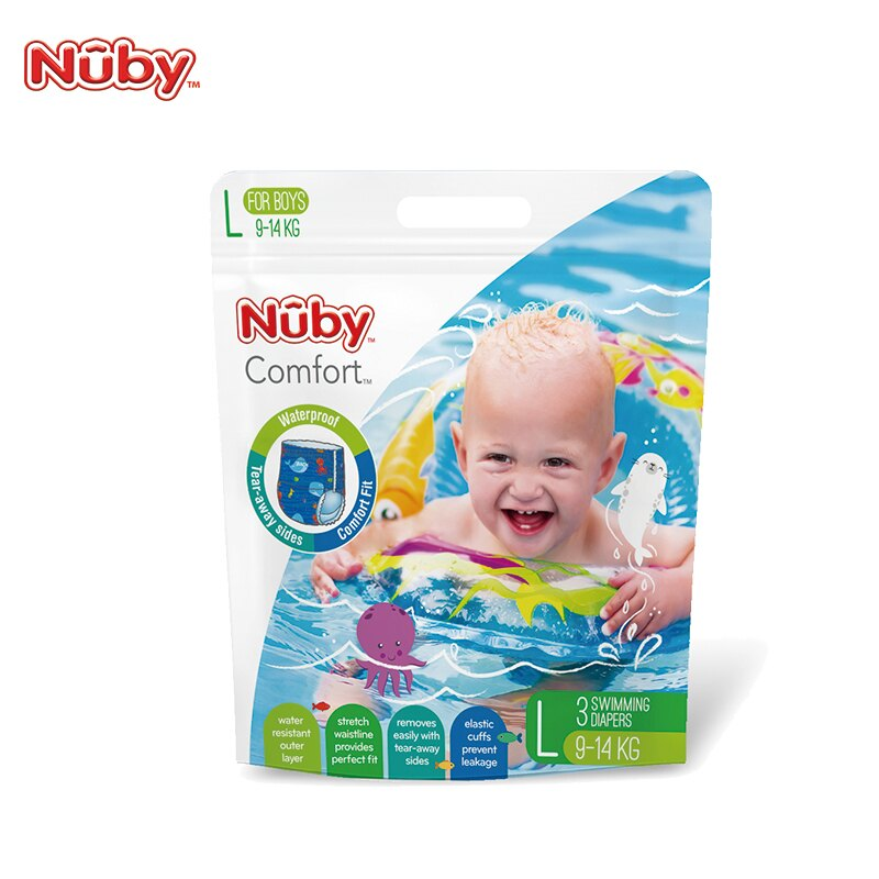 【Nuby】游泳戲水褲 男L(3片裝) 游泳尿布-米菲寶貝 1