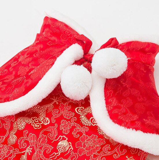++過年必備新年裝++小披風式毛球燙金上衣 / 唐裝-小樂寵 5