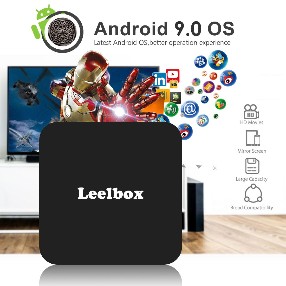 Leelbox tv box android 9 0 4gb ram 64gb octa core+remote control