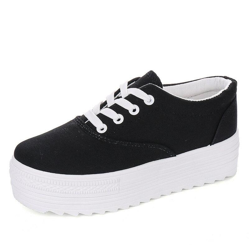 女鞋韓國東大門版厚底純色黑白拼色學生帆布鞋小白鞋綁帶休閒鞋