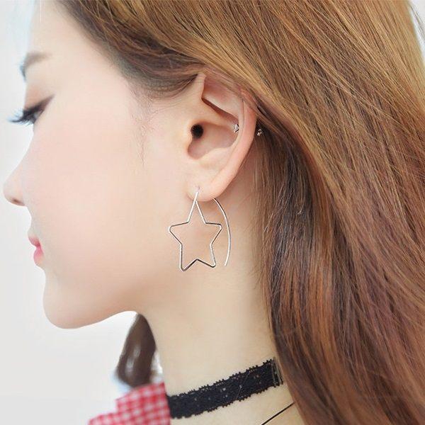 PS Mall 日 簡約氣質五角星誇大星星長款耳掛耳飾耳環耳釘耳針~G2206~
