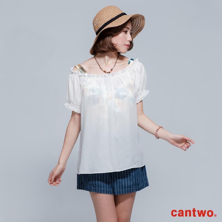 cantwo微透視印花兩件式雪紡上衣(共二色) 0