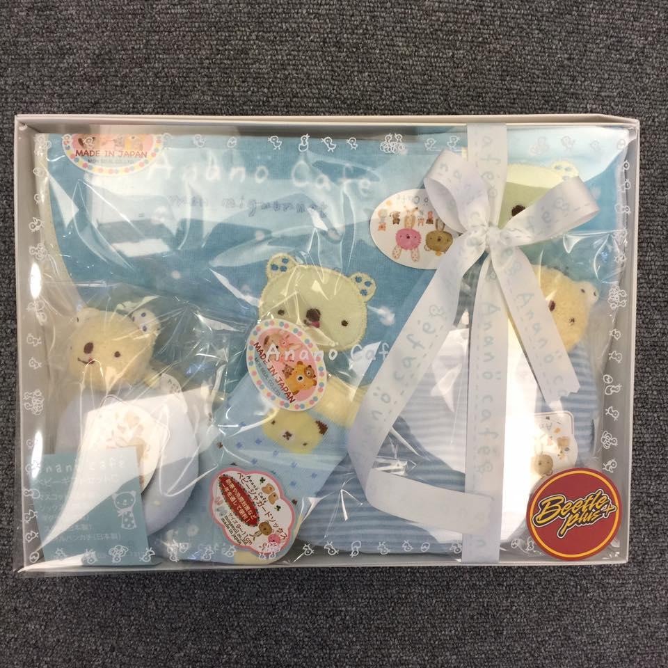 BEETLE PLUS 全新 日本製 ANANO CAFE 今治毛巾 彌月禮盒五件組 初生兒禮盒 藍色 小熊禮盒