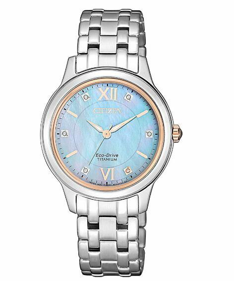 CITIZEN 星辰 EM0726-89Y 時尚鈦金屬光功能炫麗腕錶 水藍 30mm