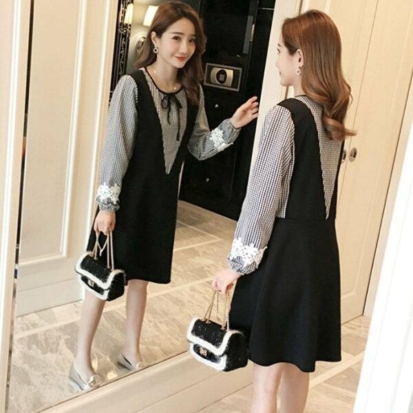 *漂亮小媽咪*韓國假兩件格紋V領拼接背心裙長袖孕婦裝襯衫洋裝D1285