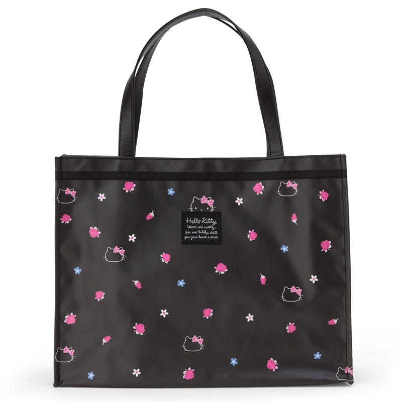 【真愛日本】4901610881446 防水手提袋-KT黑ABD 三麗鷗 Hello Kitty 凱蒂貓 防水 包包