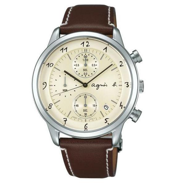 agnes b VD57~00A0C BM3004J1  法式 計時腕錶  米白面40mm