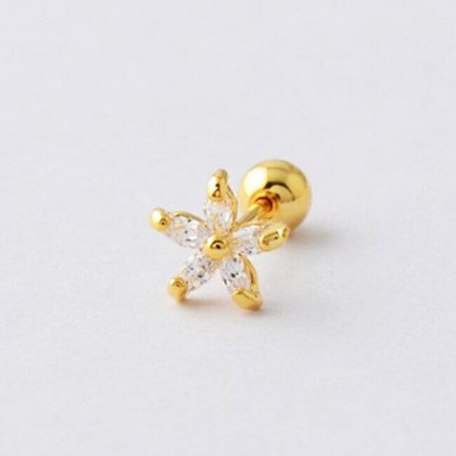 316L醫療鋼 花朵小花 天然白水晶 旋轉式耳環-金 防抗過敏 單支販售