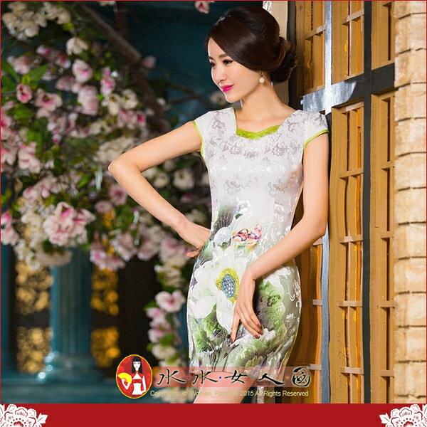 【水水女人國】~夏日花樣旗袍中國風~碧玉。復古提花棉定位花修身超顯瘦改良式時尚短旗袍