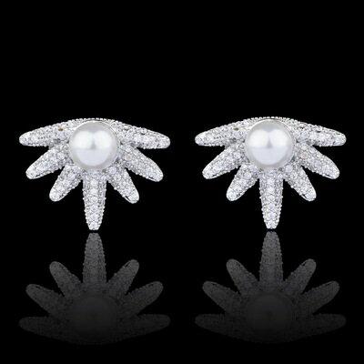 925純銀耳環鑲鑽耳飾~ 獨特 潮流生日情人節 女飾品73hz104~ ~~米蘭 ~