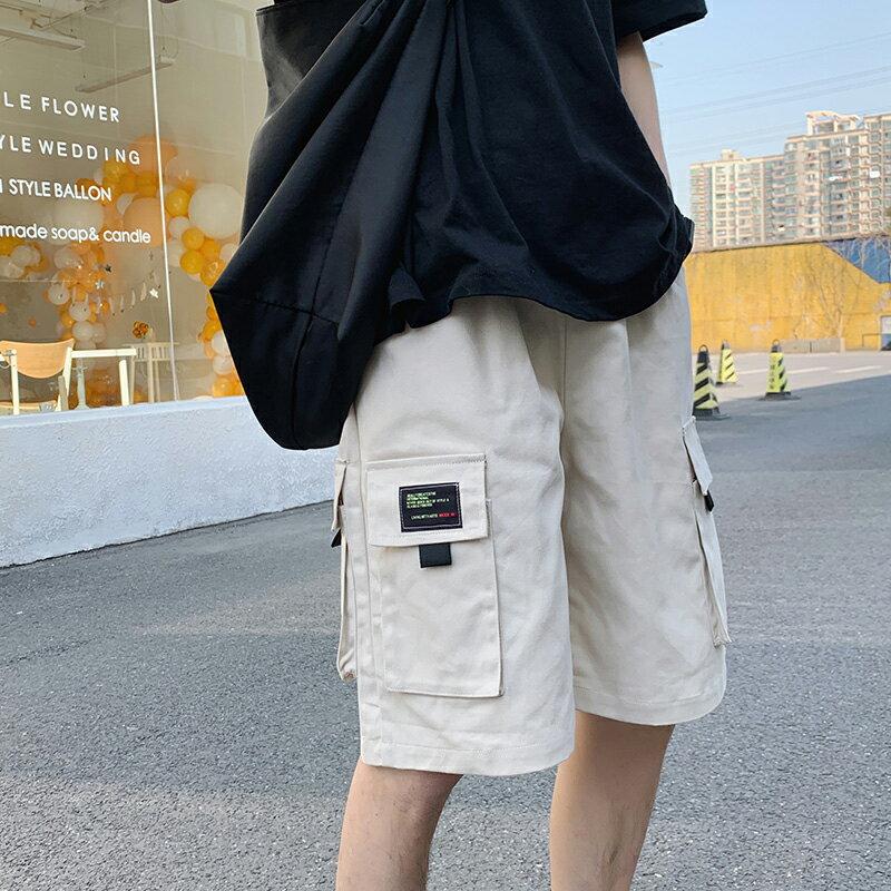 Champion 冠軍個人賣場 短褲男夏季新款港風潮流寬鬆直筒工裝褲韓版帥氣學院風百搭五分褲