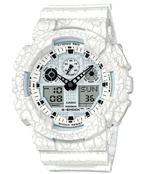 CASIO G-SHOCK GA-100CG-7A 新爆裂紋雙顯流行腕錶/白