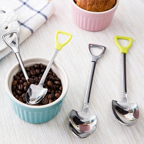 PS Mall 創意不鏽鋼小鐵鍬長柄湯匙 攪拌棒 咖啡勺 湯匙 湯勺【J326】