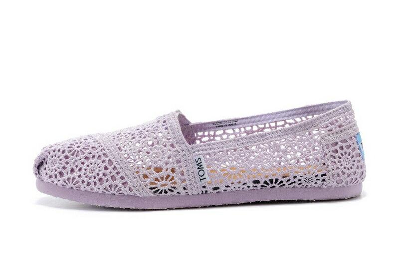 【TOMS】淡紫色蕾絲鏤空繡花平底休閒鞋  Lilac Snow Crochet Women's Classics【全店免運】 3