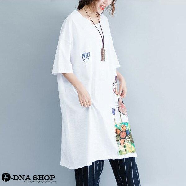 加大尺碼★F-DNA★插畫卡通貓短袖長版上衣(2色-均碼)【HG22008】 2