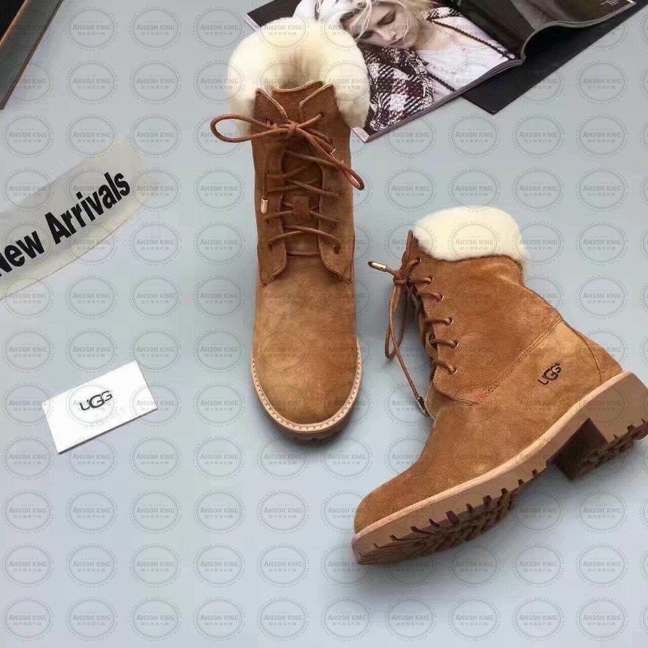 OUTLET正品代購 澳洲 UGG 女款經典復古翻毛 馬汀靴 中長靴 保暖 真皮羊皮毛 雪靴 短靴 棕色 1