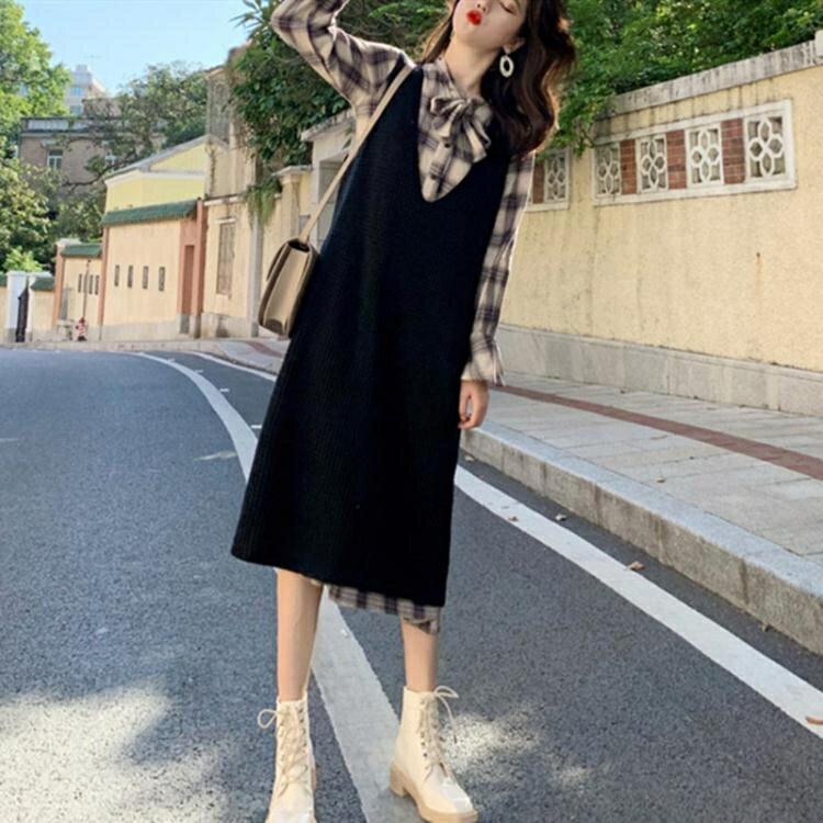 大碼女裝胖MM套裝秋冬新款時髦洋氣寬鬆顯瘦馬甲洋裝休閒兩件套