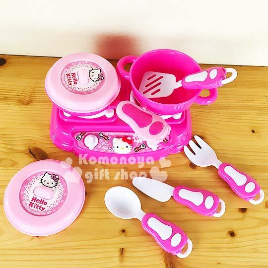 〔小禮堂嬰幼館〕Kitty 家家酒廚具玩具組《粉.大臉.廚具》