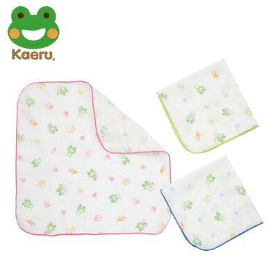 哈皮蛙 Kaeru 印花紗布手帕-3入 (藍/綠/桃紅)【悅兒園婦幼生活館】